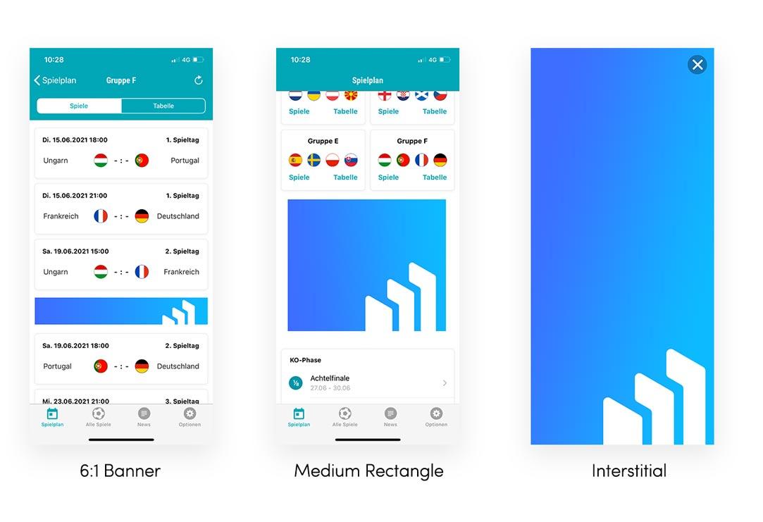 EM App Formate: Banner, Medium Rectangle, Interstitial